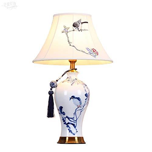 Hmvlw Lámpara de mesa de cerámica utilizada para lámparas de noche de dormitorio y decoraciones de sala de estar American Study Room Jingdezhen azul y blanco de porcelana de cobre puro iluminación cál