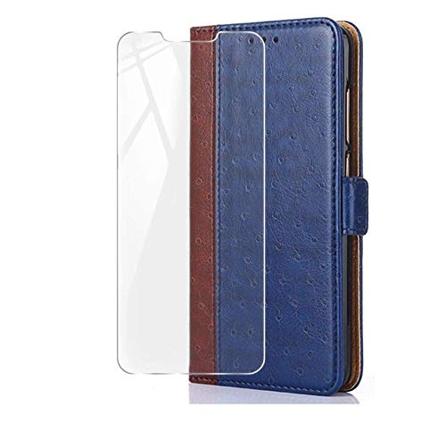 HYMY Hülle für ASUS Zenfone Live L2 ZA550KL - BookStyle + Schutzfolie PU Leder Flip mit Brieftasche Card Slot Handyhülle Hülle Lederhülle für ASUS Zenfone Live L2 ZA550KL - Blau