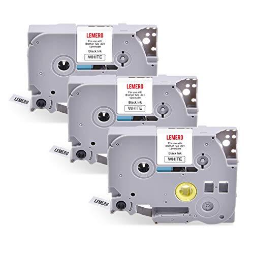 3 LEMERO TZe-231 Schriftband kompatible Brother P-Touch Kassette mit laminierten Etiketten, schwarz auf weiß, 12 mm x 8 m Für Brother PT-1000 GL-H100 GL-H105 GL-200 PT1080 PTP700 PTH300