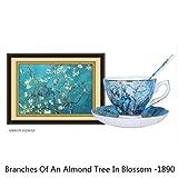 Famosos cuadros de pintura al óleo Juego de platillo de taza de café Bone China Cafe Taza perfumada Tazas de café Caja de regalo, Flor de albaricoque, 200 ml
