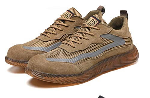 SQL Ligera de Seguridad Punta Zapatos Zapatos de Trabajo de Acero de los Hombres de Las Mujeres de Casquillo Respirable Resistente a la penetración Zapatillas de Deporte de protección,Marrón,40