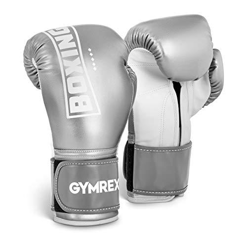 Gymrex GR-BG 12BP Boxhandschuhe Kickboxhandschuhe Boxen Handschuhe 12 oz Mesh innen metallic-silbern und weiß