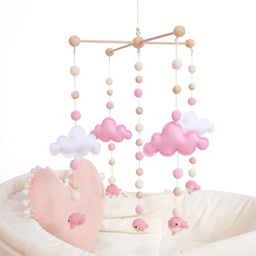 baby tete Mobiles Bébé pour Les Filles Jouets Suspendus Créatifs Jouets de Hochet de Lit Boules de Feutre Blanches et Roses Tente de Carillons éoliens en Bois