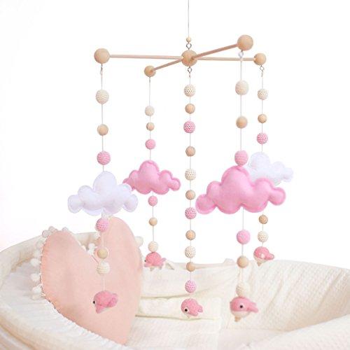 let's make Babybett Mobiles für Mädchen Kreatives Hängendes Spielzeug Bett Glocke Rassel Spielzeug Weiße und Rosa Filzbälle Hölzernes Windspiel Zelt