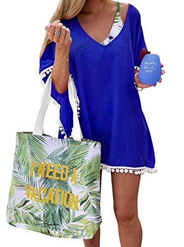 Women's Pom Pom Trim Kaftan Stylish Chiffon Swimwear Beach Cover Up Free Size Royal Blue