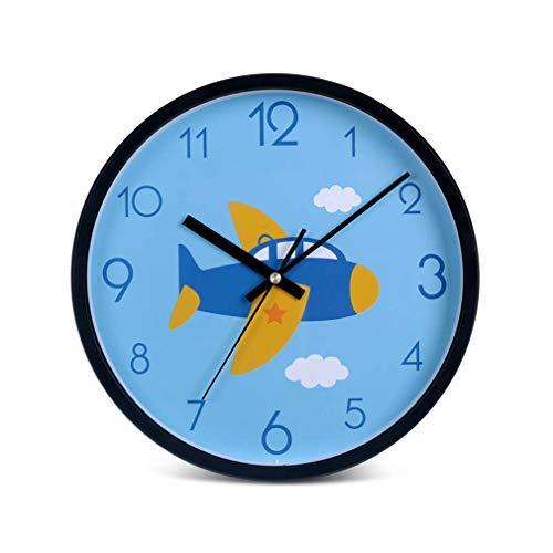 MingXinJia Relojes de Cabecera para el Hogar Reloj de Pared, Reloj para Niños Diseño Biselado de Dibujos Animados Campana Decorativa de Plástico para Pared Sala de Estar Silenciosa Dormitorio para Ni