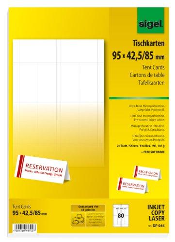 SIGEL DP046 bedruckbare Tischkarten weiß, 9,5 x 4,2 cm (auf A4), 80 Stück - weitere Größen