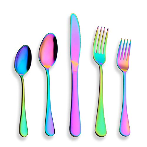 Berglander Flatware Set 40 Piece, Stainless Steel With Titanium Colorful Plated, Multicolor Flatware Set, Silverware, Rainbow Color Cutlery Set Service For 8