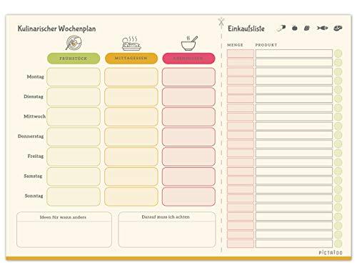 Kulinarischer Wochenplan, Menüplaner & Einkaufsliste in Din A4 mit 50 Blatt, der...