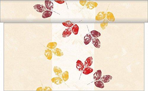 Sovie Home Tischläufer Jola | Linclass® Airlaid 40cm x 4,80m | Einmal-Tischdecke für Partys Feiern Gastronomie Herbst | Creme mit Blättern