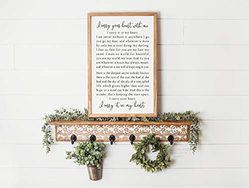 Wood Framed Sign 8x12'' Bible Verse Printable Wooden Prints I Carry Your Heart I Carry Your Heart with Me EE Cummings Sign Farmhouse Wall Quote