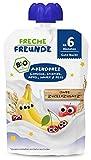 Freche Freunde Bio Beikost Quetschie Abendbrei Kirsche, Banane, Apfel, Hafer & Reis, Babynahrung ab dem 6. Monat, 6er Pack (6 x 100g)