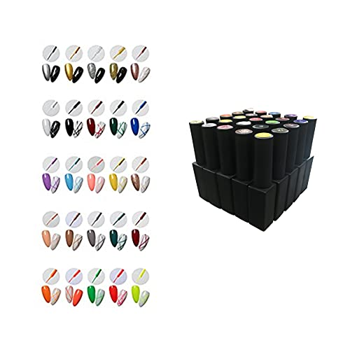 Full set 25 pcs 8ML Classic DIY 3D Gel Nail Designs Painted Gel Nail Polish, Painting Drawing UV Led Gel Liner Polish Pen Tool,Pull Line Pen for Nail Art Salon