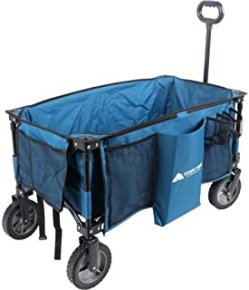 Portable and Durable OZARK TRAIL FOLDING WAGON With Telescoping Handle,BLUE,Perfect for Hauling All Your Essentials Around the Campsite or Garden