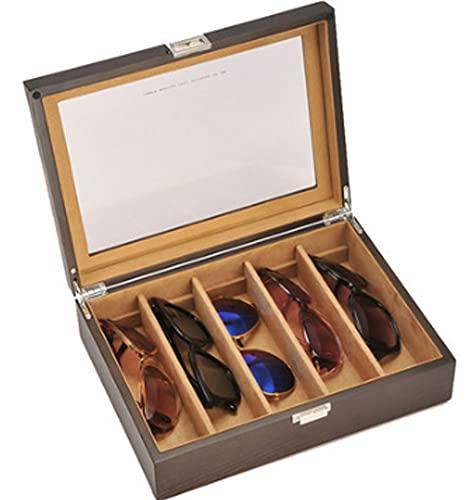 XIRENZHANG Gafas de sol, estuche para relojes, joyas, organizador de joyas, caja para gafas de sol, almacenamiento de pendientes, caja con candado, techo corredero, amarillo