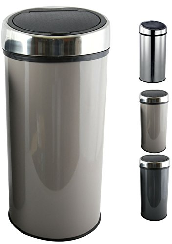 MSV Design Treteimer Abfalleimer Mülleimer mit Inneneimer geruchsdicht - 30 Liter - mit Touch Automatik und Inneneimer Taupe