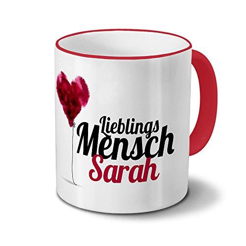 printplanet Tasse mit Namen Sarah - Motiv Lieblingsmensch - Namenstasse, Kaffeebecher, Mug, Becher, Kaffeetasse - Farbe Rot