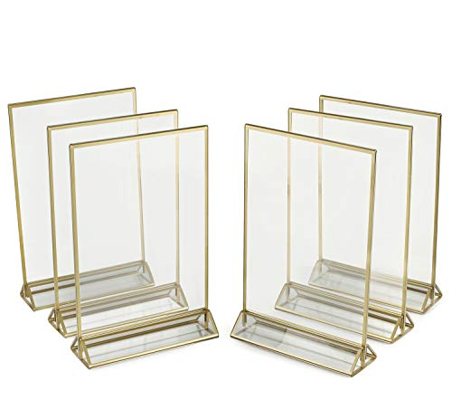 Super Star Quality Clear Acrylic Double Sided Frames Display Holder with Vertical Stand and 3mm Gold Border, 5 x 7-Inches (Pack of 6) (5x7, Gold 6 Pack)