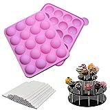 20 cavités moule pop cake + 220 bâton, moulle cake pop silicone pour faire bonbon cupcake gâteaux