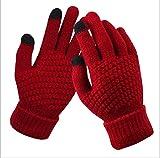 Guantes de Invierno con Pantalla táctil, Guantes de Punto elásticos cálidos para Hombres y Mujeres, Guantes de Dedo Completo, Guantes de Ganchillo para Mujer, Espesar-Red-One Size