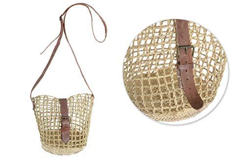 Afrikan Bags - Bolso Capazo de Palma Entorchada   Bolso de Paja de Base Oval con Asa Bandolera Ajustable y Hebilla - 27 x 17 x 21 cm