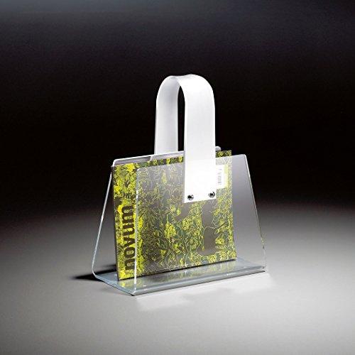 HOWE-Deko Hochwertiger Acryl-Glas Zeitungsständer, Zeitschriftenständer, klar/weiß, 33 x 16 cm, H 43 cm, Acryl-Glas-Stärke 4 mm