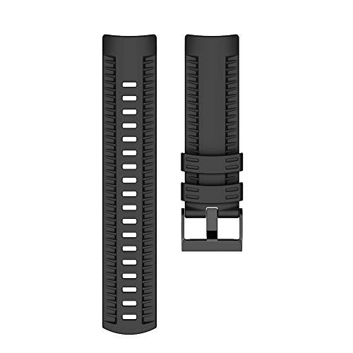LIANYG Correa De Reloj Banda de Reloj de Silicona Suave Correa de 24 mm Bandas Deporte al Aire Libre Silicona Cinturón de Relojes Accesorio 493 (Band Color : Black, Band Width : A)