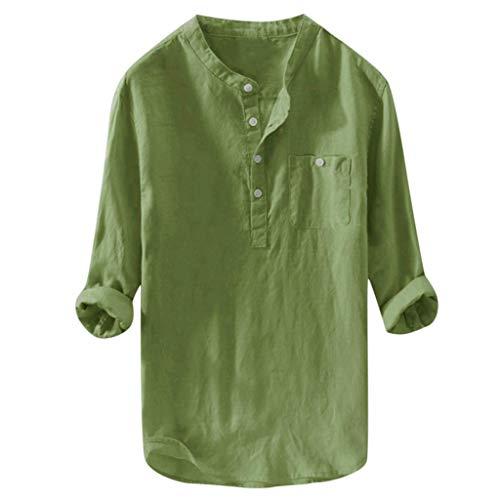 Yowablo Hemd Männer lässig Langarm Top Button Baumwolle Leinen einfarbig lose Bluse (M,Grün)