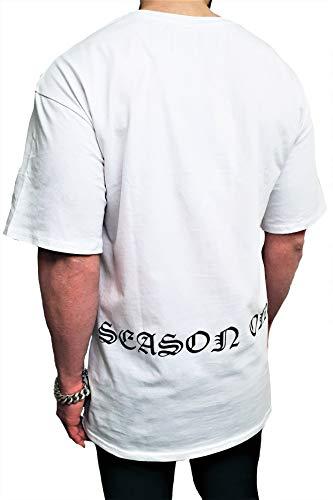 Oversize Kapuzen Longsleeve Shirt Deep Long-Shirt Herren Sweatshirt eiweiss NEU Sweat-Jacke schwarz Pullover langes m h Kapuzenpullover Pulli (S, Weiß - schwarz)
