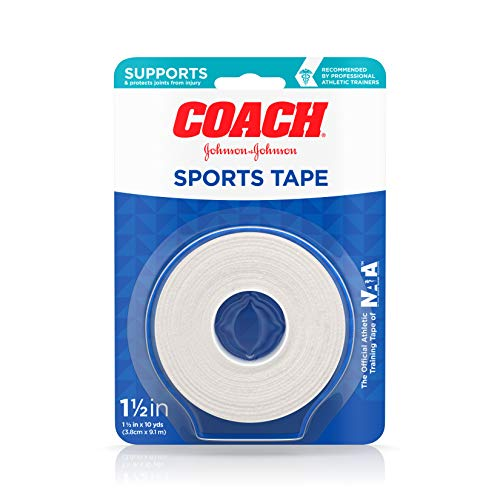 johnson johnson medical tapes Johnson & Johnson Coach Sports Tape, Breathable Cloth Tape to Support and Protect Joints, for Fingers, Wrists, and Ankles, 1.5 inches By 10 yards, White