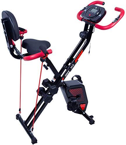 Uten F-Bike Cyclette da Casa Pieghevole Avanzata, Con Manubri e Corda Per Esercizi, Display LCD, Con Sensore di Frequenza Cardiaca, Livello di Resistenza Regolabile, Adatto a Tutti
