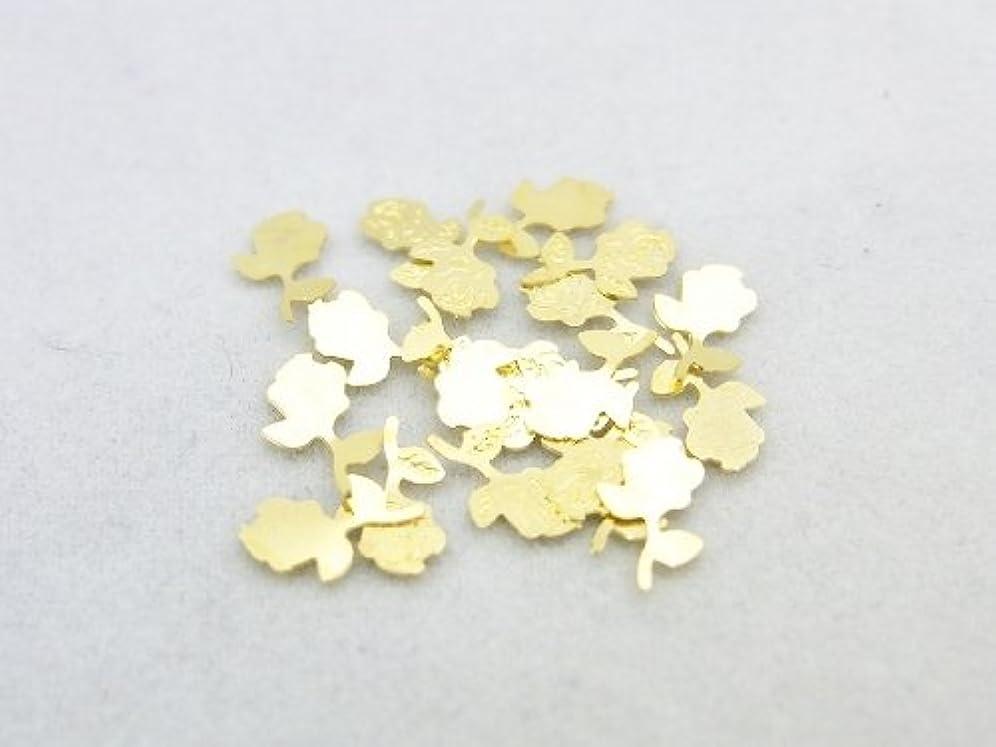 修正するペルメル資本紗や工房 メタルアートパーツ メタリックパーツ ローズ薔薇一輪 ゴールド 20枚