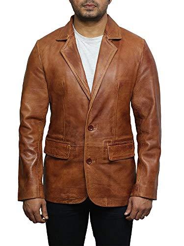 ABSY Hommes Blazer en cuir italien marron Veste lisse et élégante en cuir veritable legerement ciree (2X-Large)