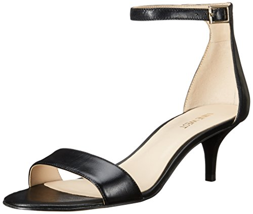 Nine West Women's Leisa Leather Heeled Dress Sandal, Black Leather, 8 M US
