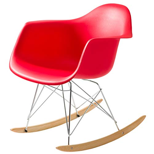 【揺れてリラックスできる大人のゆりかご 不朽の名作イームズチェアRAR】 スッキリとした無駄のないデザイン リラックスできるロッキングチェアー 座り心地のいいアームシェル型 (レッド色) RARレッド RAR(ゆりかごタイプ)
