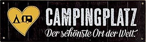 G.H. Vintage Retro Metallschild, Modell: Campingplatz, Maße 30 x 9 cm, schwarz, ideal für Camper, Zeltet, Caravaner, Wohnmobilisten, oder einfach Zuhause.