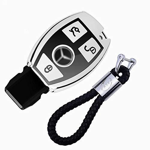 kaser Autoschlüssel Hülle für Mercedes – Cover TPU Silikon Hochglanz Schutzhülle Schlüsselhülle für Mercede Keylesss Classe A B C E CLA CLK GLA GLC (Silber)