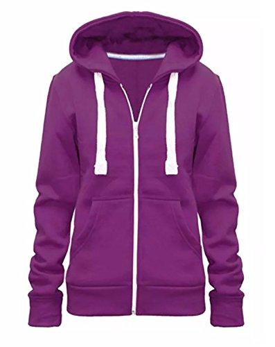 Islander Fashions Damen Langarm Kapuzenjacke mit Rei�Verschluss Kapuzenpulli Damen Fancy Plain Sweatshirt Jacke Lila Medium