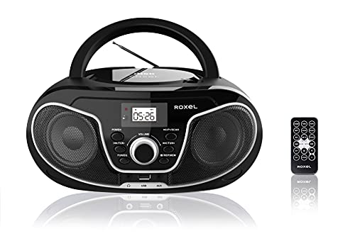 Roxel RCD-S70BT Portable Boombox CD Player with Bluetooth, Remote Control, FM Radio, USB MP3 Playback, 3.5mm AUX Input, Headphone Jack, LED Display (Black)