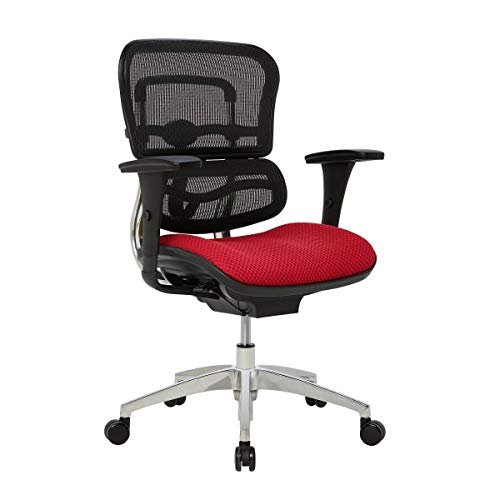 WorkPro 12000 Series Ergonomic Mesh/Fabric Mid-Back Manager's Chair, Cherry/Black/Chrome