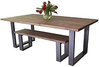 Table de salle à manger moderne de style industriel avec pieds en «U», Fernanda (Brown)-Gra...