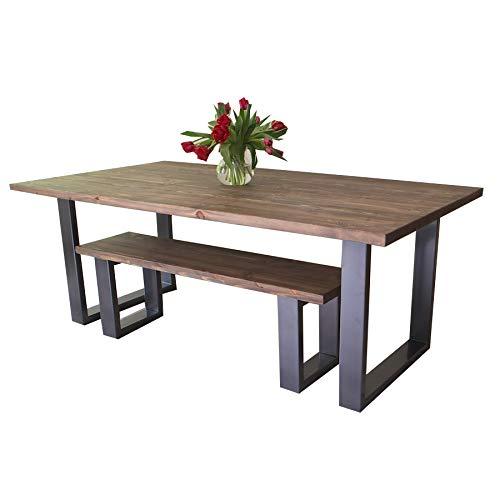Table de salle à manger moderne de style industriel avec pieds en « U », Bois dense, Fernanda (Brown)-Graphite Grey (Powder coated), 6 seater W150xD75xH75cm