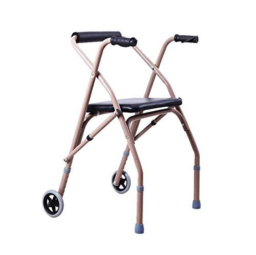 GenericBrands Folding Roller Walking Frame Height Adjustable Aluminum Alloy Two-wheeled Walker for Elderly and Disabled