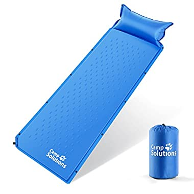 Camp Solutions Self-Inflating Sleeping Pad with Pillow and Comfortable Compact Lightweight Moisture Proof Mat