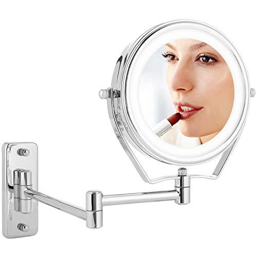 Athomestore Kosmetikspiegel LED Beleuchtung und 1x/7xFach- Vergrößerung, Schminkspiegel mit Licht für wandmontage, 360° schwenkbar faltbar Kosmetikspiegelfür Badezimmer zum Schminken und Rasieren