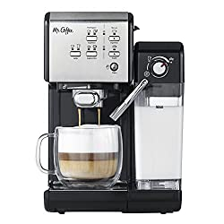 "Mr. Coffee One-Touch CoffeeHouse Espresso Maker and Cappuccino Machine. <a href=""https://www.amazon.com/gp/product/B07CJ3CYF7/ref=as_li_qf_asin_il_tl?ie=UTF8&amp;tag=ris15-20&amp;creative=9325&amp;linkCode=as2&amp;creativeASIN=B07CJ3CYF7&amp;linkId=77a621936324d52abd559af88682bd5d"" target=""_blank"" rel=""nofollow noopener""><span style=""text-decoration: underline; color: #0000ff;""><strong>Buy it on Amazon today.</strong></span></a>"