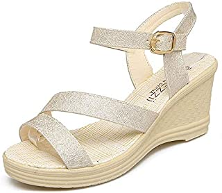 CHENDX New Summer Fashion Women's Sandals Comfortable Waterproof Platform Temperament Wedge with High Heel Buckle Women Sandals