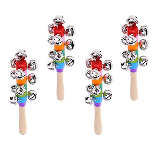 reakoo - Campanas de trineo de mano, 4 unidades, cascabeles de Navidad
