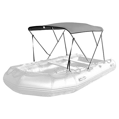 Seamander Inflatable Boat Bimini Tops,Rib Boat Cover with Mounting Hardware (Grey, 2 Bow 165 x 130 x 110cm for Rib)
