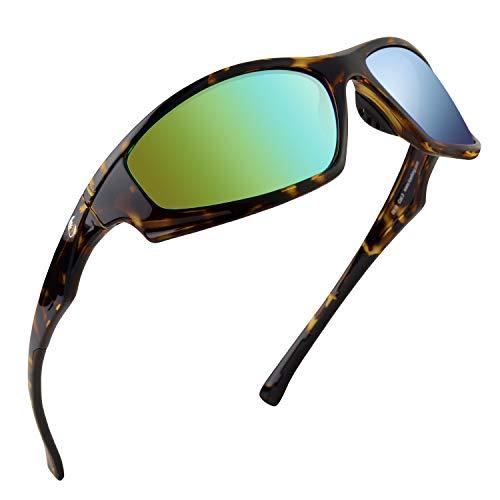 Calamus Turmoil Polarized Sport Sunglasses for Men and Women,Gloss Demi Frame,Brown Base Emerald Mirror
